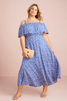 Plus Size - Cobalt Ditsy Dress - 255533