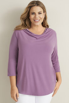 Plus Size - Cowl Neck Top - 255537
