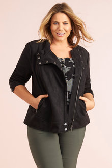 Plus Size - Faux Suede Jacket - 255541