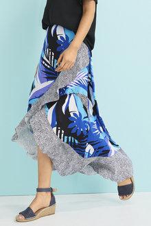 Palm Print Maxi Skirt - 255580