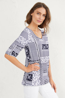 Patchwork Print Top - 255602