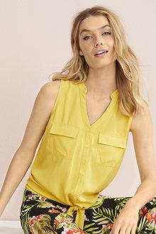 Tie Hem Sleeve Pocket Shirt - 255630