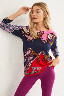 Paisley Placement Pullover - 255671