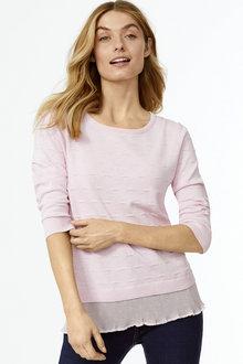 Textured Woven Hem Pullover - 255673