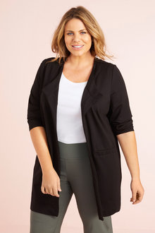 Plus Size - Waterfall Longline Ponte Jacket - 255694