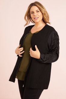 Plus Size - Long Sleeve Knit Bomber Jacket - 255696