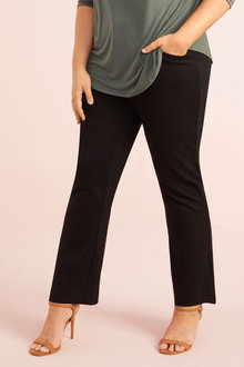 Plus Size - Fly Front Ponte Pant - 255721