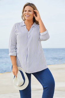 Plus Size - Long Sleeve Stripe Shirt - 255725