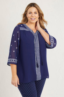 Plus Size - 3/4 Sleeve Embroidered Top - 255726