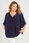Plus Size - 3/4 Sleeve Lace Trim Top