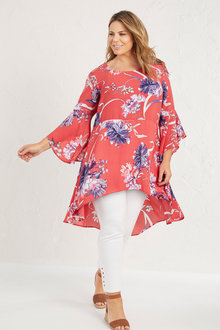 Plus Size - Sara 3/4 Sleeve Hi Lo Hem Top - 255735