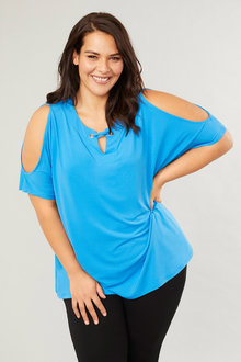 Short Sleeve Eyelet Top - 255738
