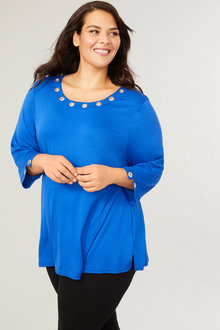 Plus Size - 3/4 Sleeve Eyelet Knit Top - 255742