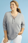 Plus Size - 3/4 Sleeve Lace Up Top