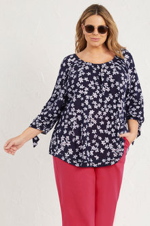 Plus Size - 3/4 Sleeve Daisy Tie Cuff Top - 255753