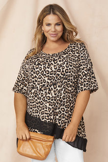 Plus Size - Short Sleeve Mix Media Top - 255756