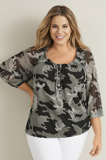 Plus Size - 3/4 Sleeve Button Trim Mesh Top - 255758
