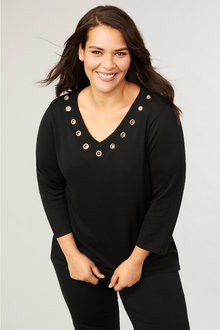 Plus Size - 3/4 Sleeve Eyelet Jumper - 255764