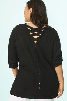 Plus Size - Long Sleeve Lace Back Cardigan - 255769