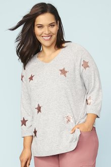 Plus Size - 3/4 Sleeve Sequin Star Jumper - 255772