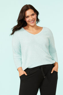 Plus Size - Fleck Ribbed Jumper - 255778