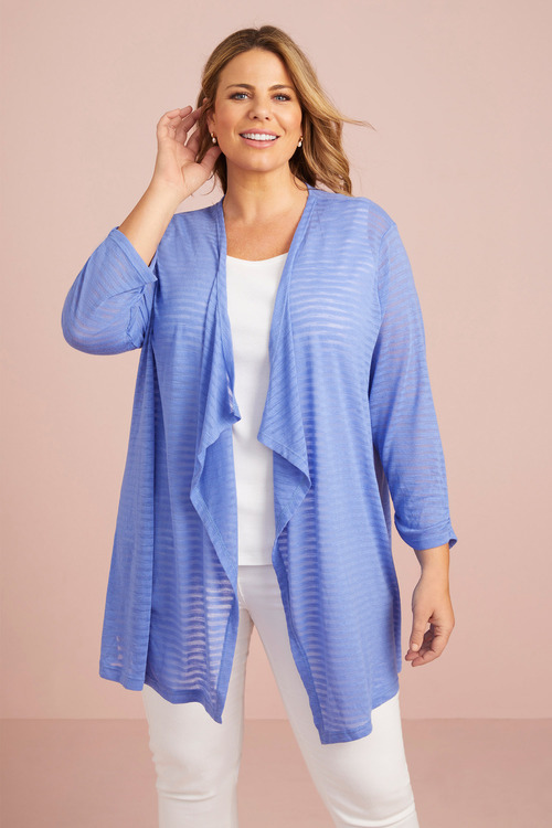 Plus Size - 3/4 Sleeve SelfStripe Cover Up