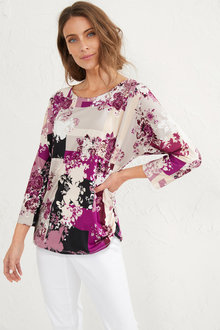 Batwing Placement Printed Top - 255807
