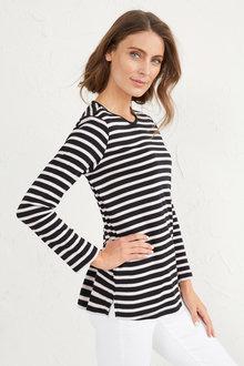 Stripe Scoop Neck T-Shirt - 255811