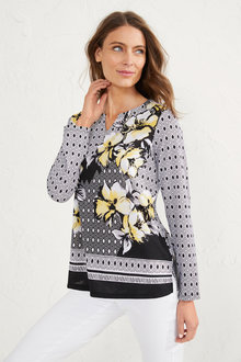 Capture Multi Print Notch Neck Top - 255812