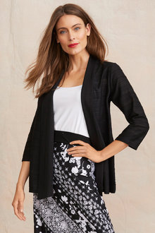 Long Sleeve Rib Detail Cardigan - 255827