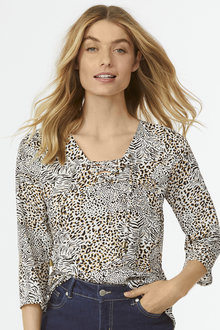 Animal Tie Up Blouse - 255856