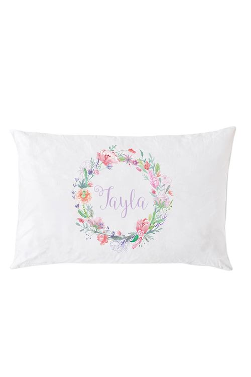 Personalised Circle of Flowers Pillowcase
