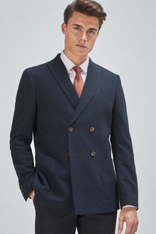 Next Textured Blazer-Double Breasted Slim Fit - 255892