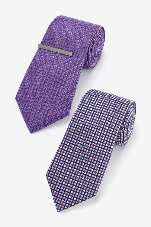 Next Ties Two Pack With Tie Clip