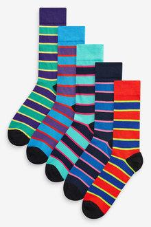 Next Bright Rugby Stripe Socks Five Pack - 255920