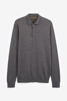 Next Merino Long Sleeve Poloshirt - 255939