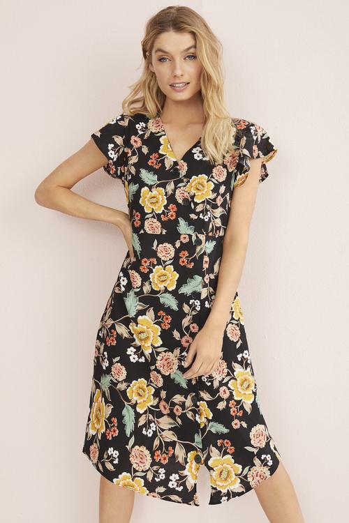3/4 Floral Button Dress
