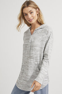 Long Sleeve Hooded Button Top - 255975
