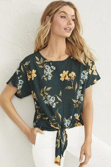 Short Sleeve Tie Front Top - 255984
