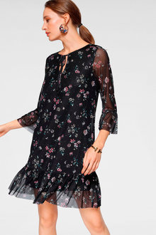 Urban Printed Neck Tie Dress - 255992
