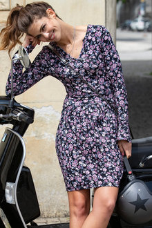 Urban Printed Long Sleeve Volant Dress - 255997