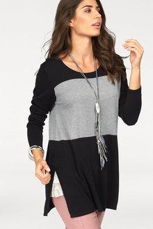 Urban Colour Block Longline Knit Top - 256046