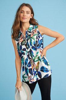 Sleeveless Pintuck Collared Shirt - 256048
