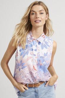 Sleeveless Collared Shirt - 256050