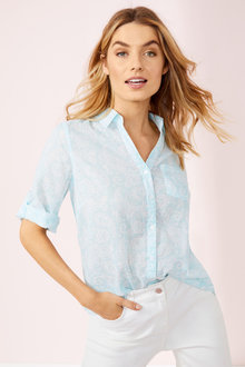 Short Sleeve Button Through Voile Shirt - 256056