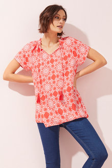 Short Sleeve Gathered Blouse - 256062