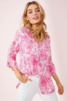Collarless Crinkle Shirt - 256066