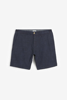 Next Cotton Linen Check Shorts - 256101