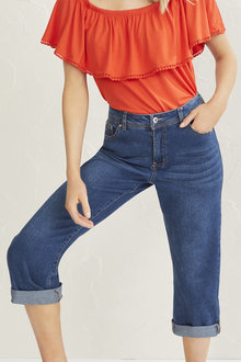 Cropped Slim Roll up Jean - 256139