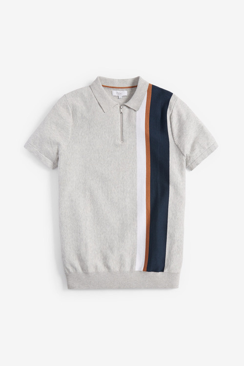 Next Vertical Stripe Knitted Zip Polo